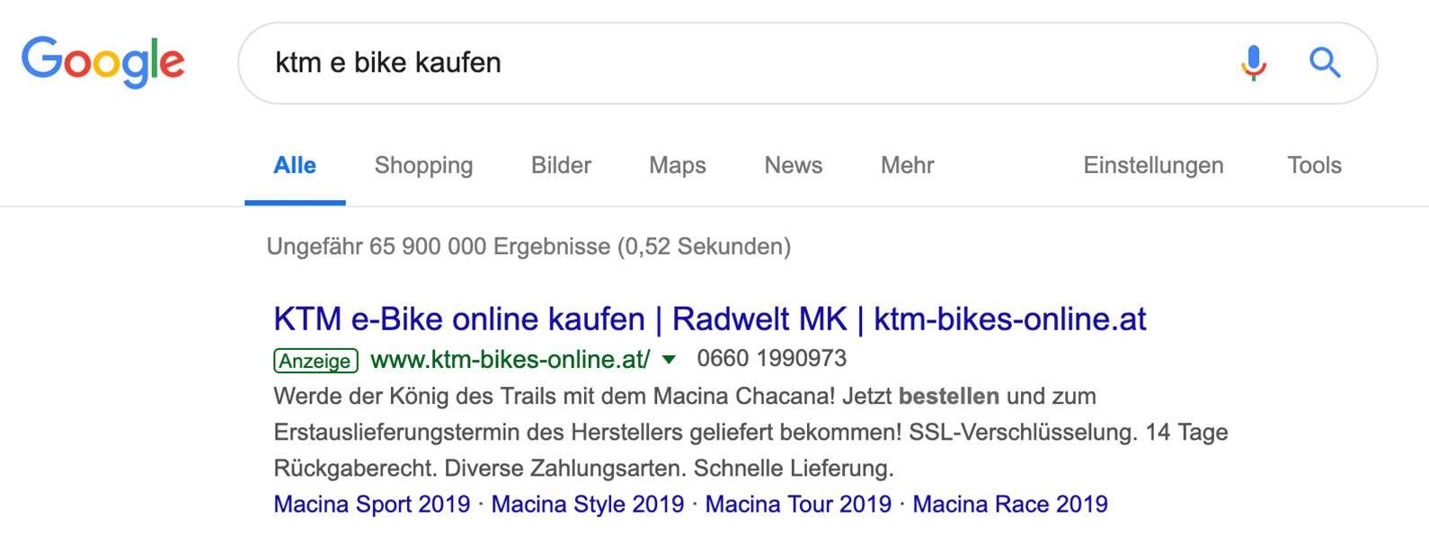 Hier sehen Sie eine von uns erzeugte Werbeanzeige in Google auf dem ersten Platz.
