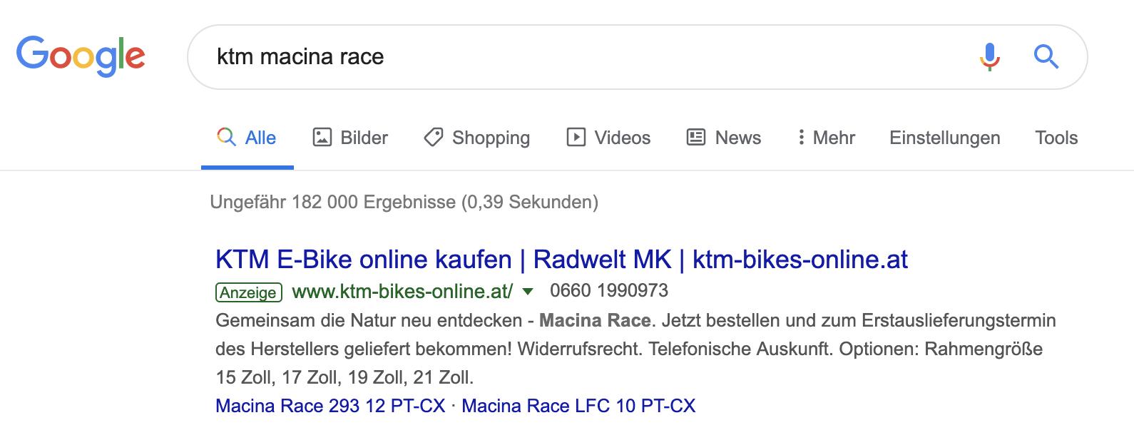 KTM Macina Race Adwords Anzeige