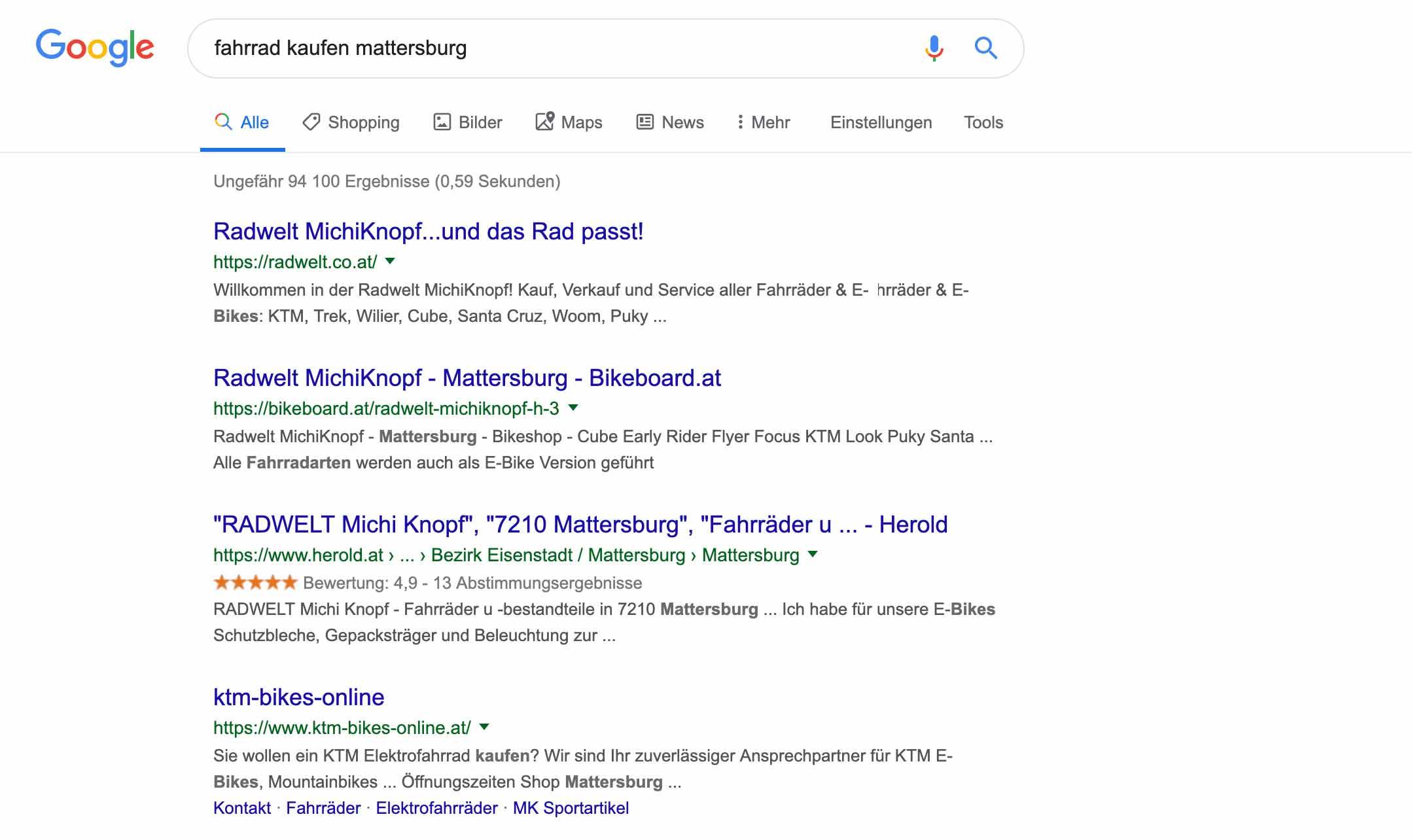 Wordpress Webseite in Google Ergebnis