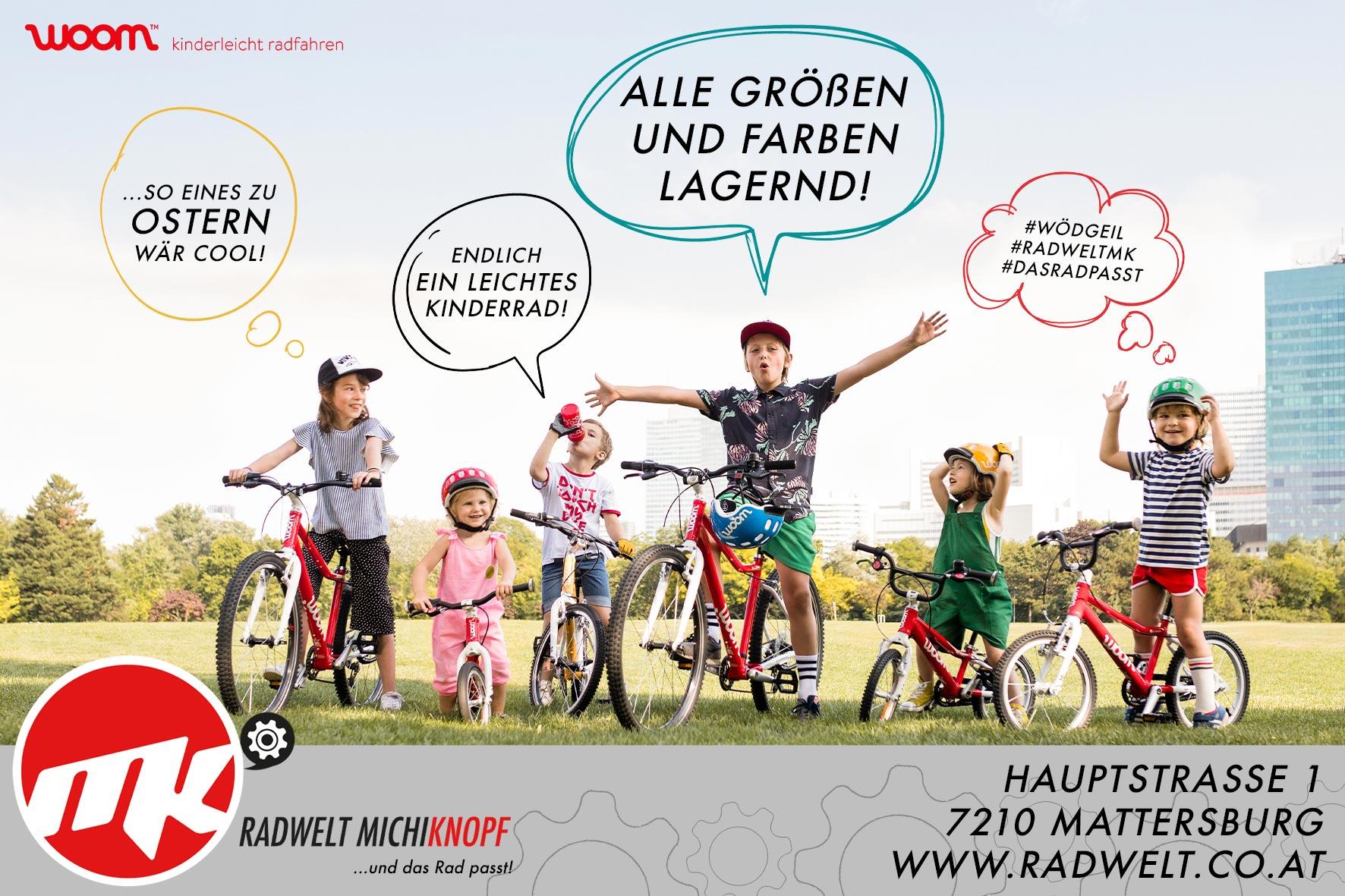 Grafik und Design vereint bei der Woom Plakatwand für die Radwelt MichiKnopf
