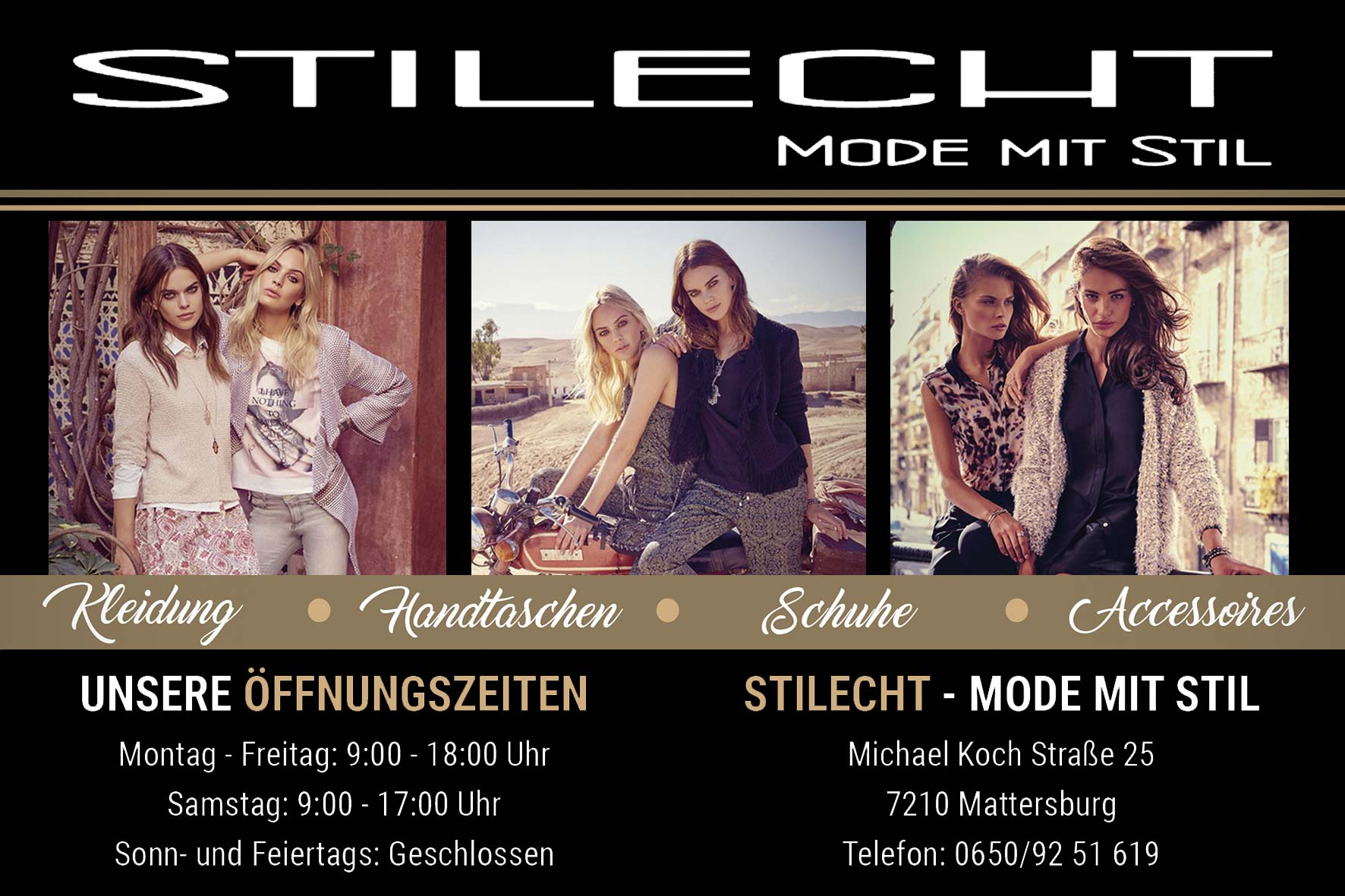 Eine Grafik für das Modefachgeschäft Stilecht in Mattersburg