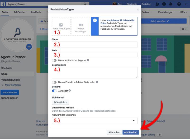 Kostenloser Onlineshop durch Facebook: Produkte anlegen
