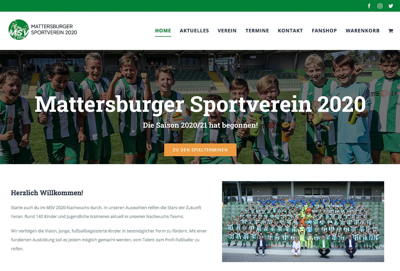 Homepage des Mattersburger Sportverein 2020
