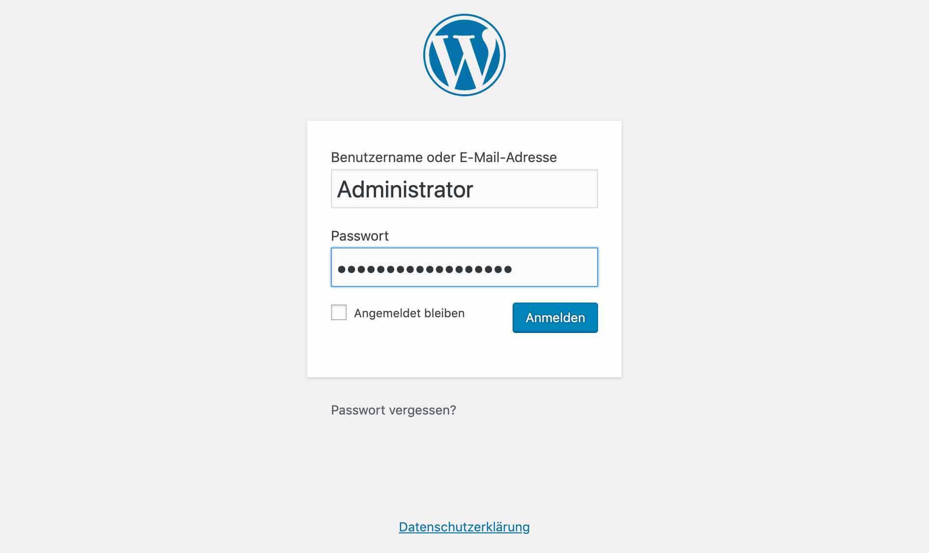 Das ist die Login Seite bei einer WordPress Installation.
