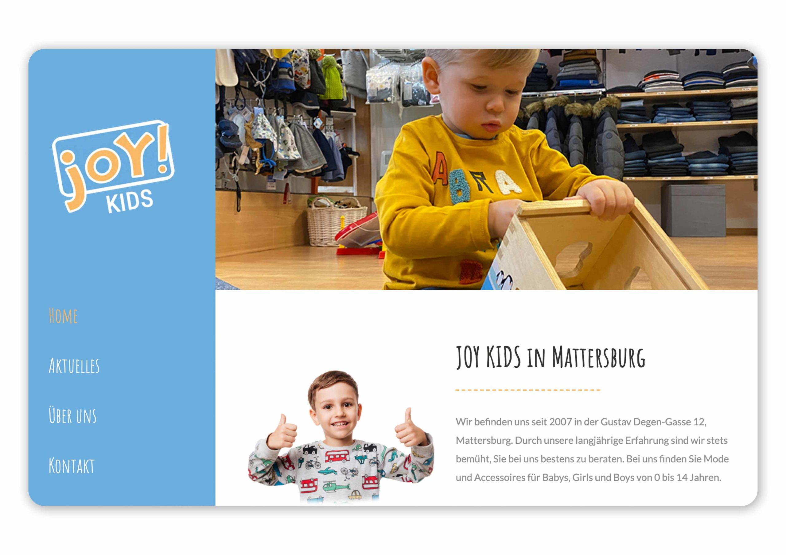 Homepage von Joy Kids
