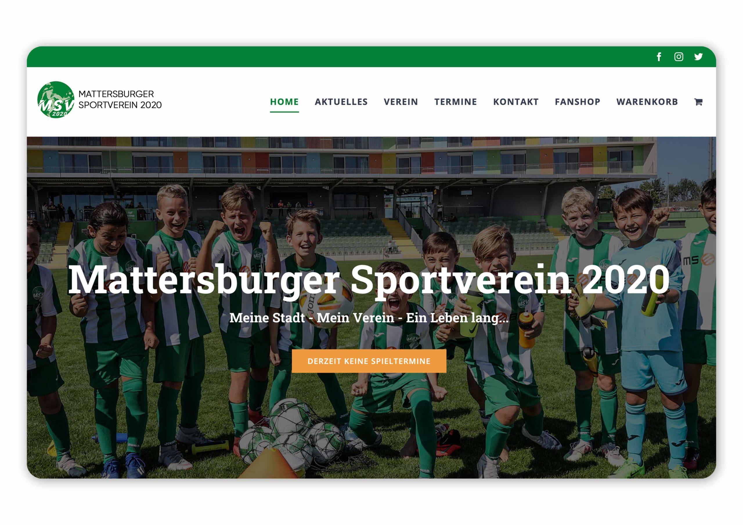 Homepage des MSV 2020